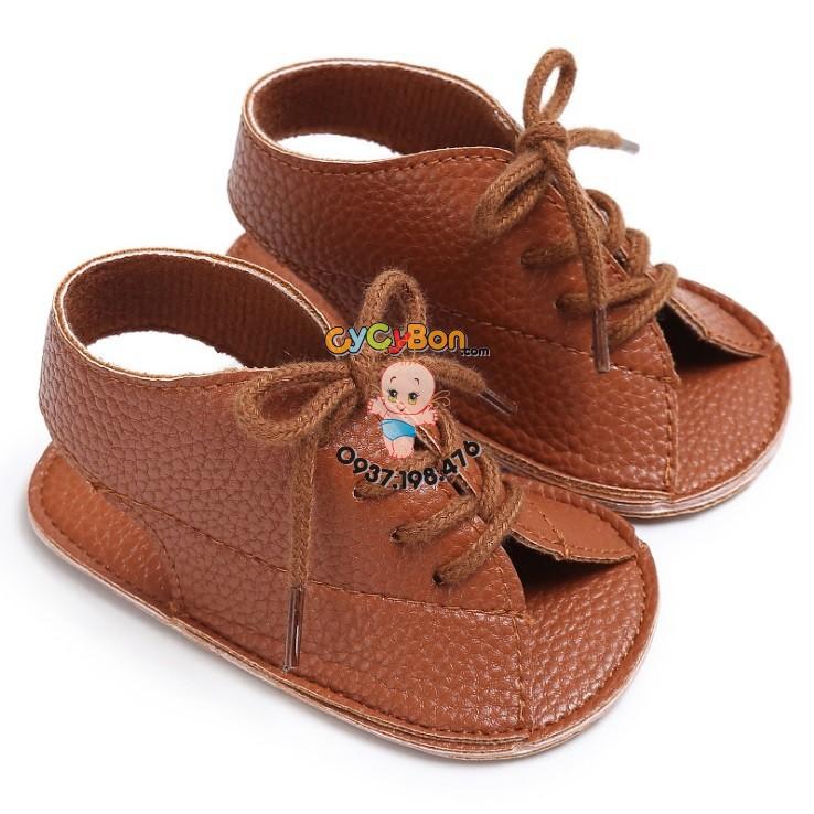 Giày Bé Gái Tập Đi Sandal Cột Dây Nâu Đậm