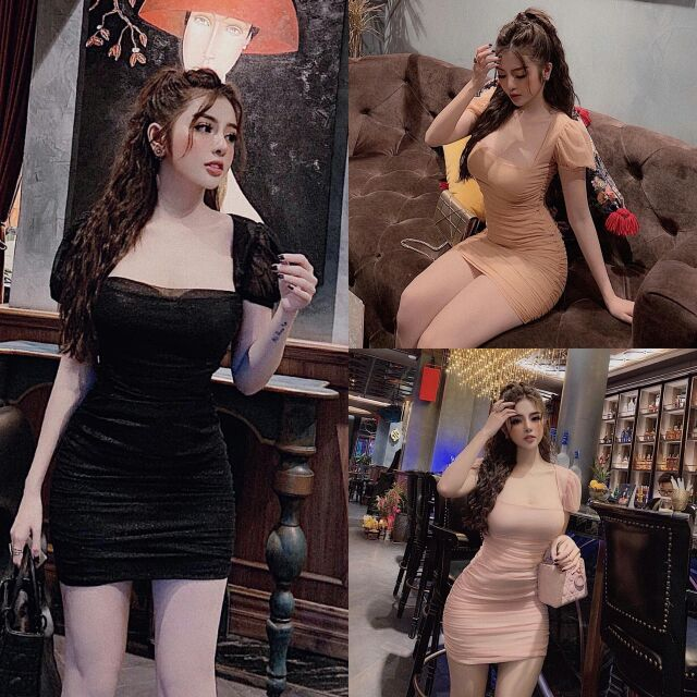 Đầm Body Nhún Cổ Vuông Tay Phồng (chuẩn hình)