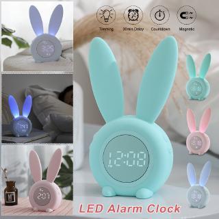 Đồng hồ báo thức nam châm hình thỏ dễ thương có đèn LED