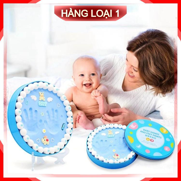 [Loại 1] Bộ khung hộp in dấu vân chân tay chân cho bé sơ sinh lưu dữ kỷ niệm bằng đất sét .