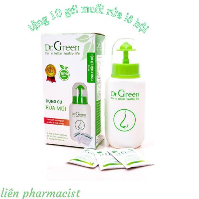 Bình Rửa Mũi Dr.Green Tặng Kèm 10 Gói Muối Rửa Lô Hội