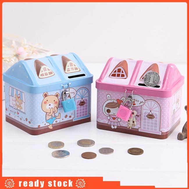 Cartoon Iron House Cute Piggy Bank Money Saving Box Tinplate Creative Coin Pot Gifts for Children