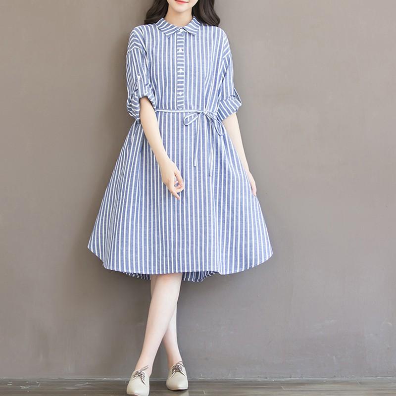 [ORDER] Đầm kẻ sọc tay lỡ cổ sơmi #077