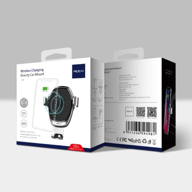 Giá đỡ điện thoại kiêm sạc nhanh không dây Quickcharge cao cấp trên ô tô, xe hơi nhãn hiệu Rock RWC0246 công suất 10W