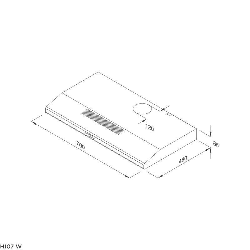 Máy Hút Khói Khử Mùi Classic Malloca H107W (Màu Trắng) - Công suất hút 350m3/h - Hàng Chính Hãng