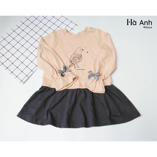 Váy nỉ da cá hoạ tiết con chim Pe-tite Mieu xuất Hàn