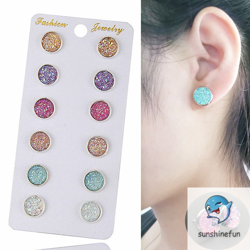 6 Pairs Shiny Round Stud Earrings Set Jewelry Luxurious Party Earring Exquisite Earrings