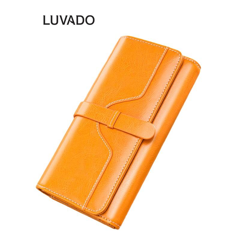 Ví nữ dài đẹp cầm tay da thật thời trang BANYANU nhiều ngăn cao cấp đựng tiền LUVADO VD275
