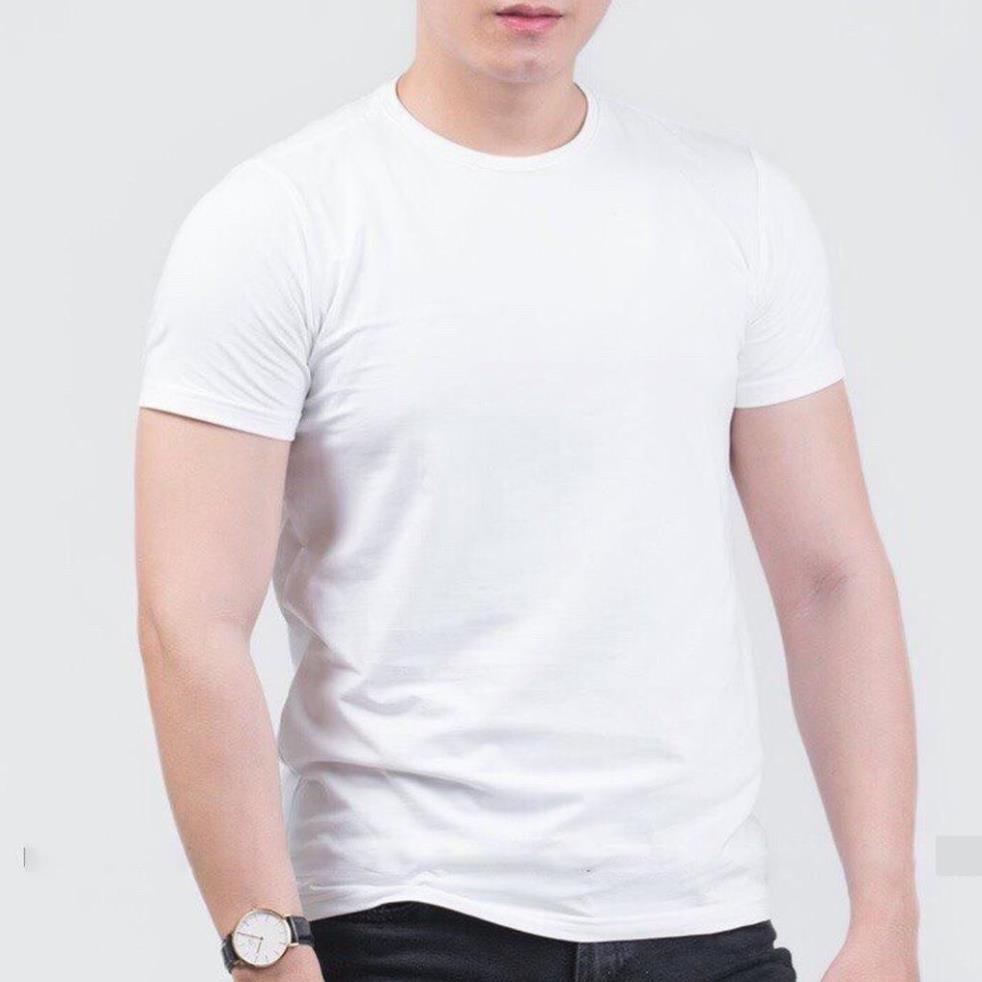 Áo thun nam cotton 100% tay ngắn cổ tròn basic cao cấp chất vải thun cotton co giãn 4 chiều form rộng thoải mái