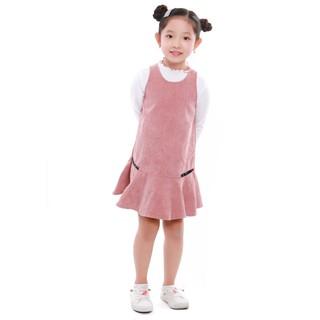 Váy nhung bé gái Narsis KB9003 màu hồng cam phối zíp trắng