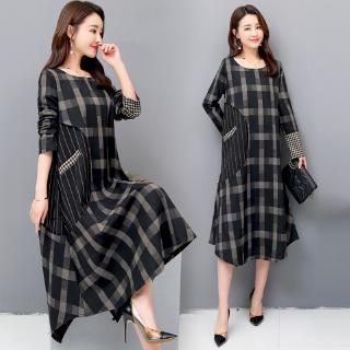 Đầm cotton lanh dài tay phong cách hè tối giản