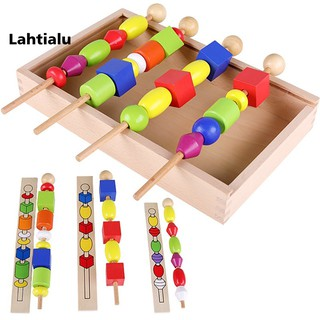 Lahtialu Wooden Block Beads Sequencing Board Set Color Shape Learning Education Kids Toy