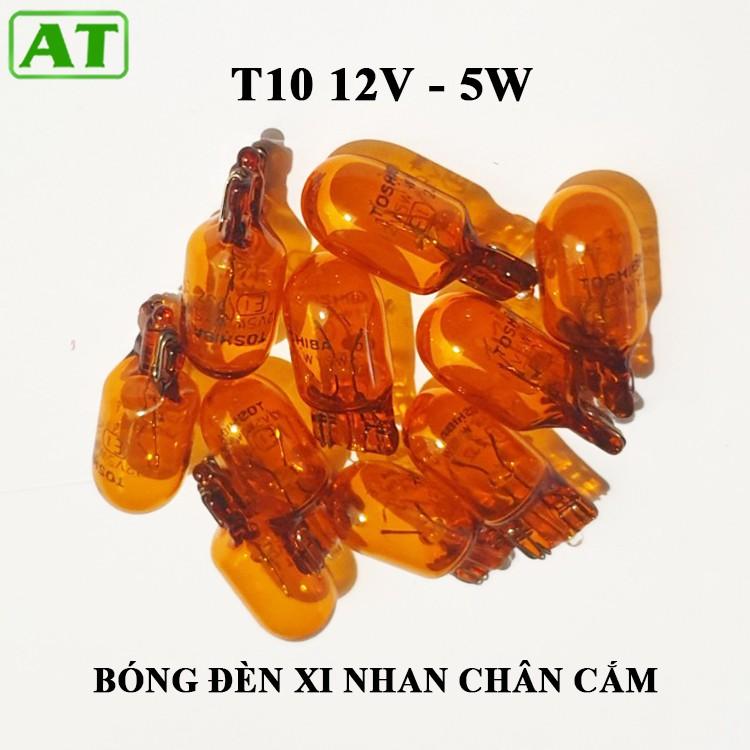 Combo 10 Bóng Đèn T10 12V 5W Xi Nhan Vàng 1 Tóc Chân Cắm Halogen
