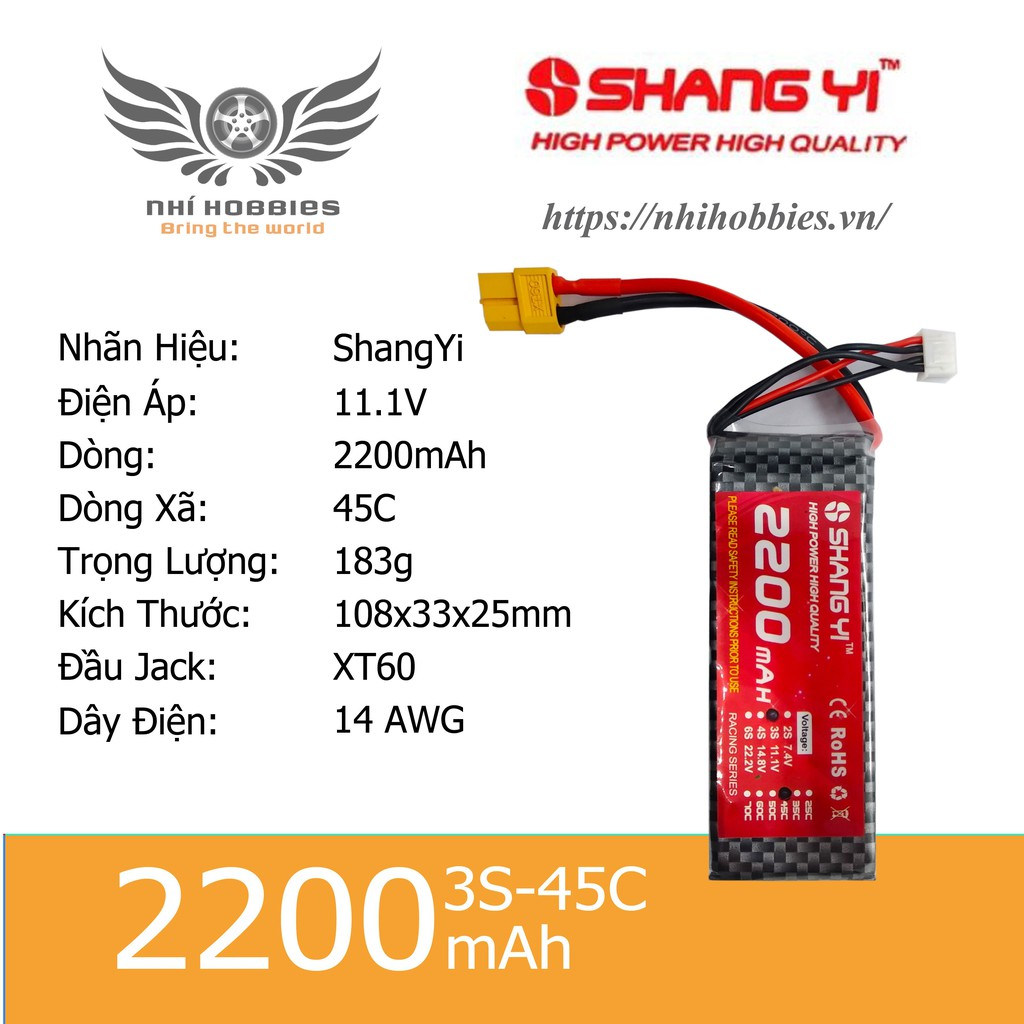 Pin Lipo ShangYi 11.1v 3s 2200mAh 45C