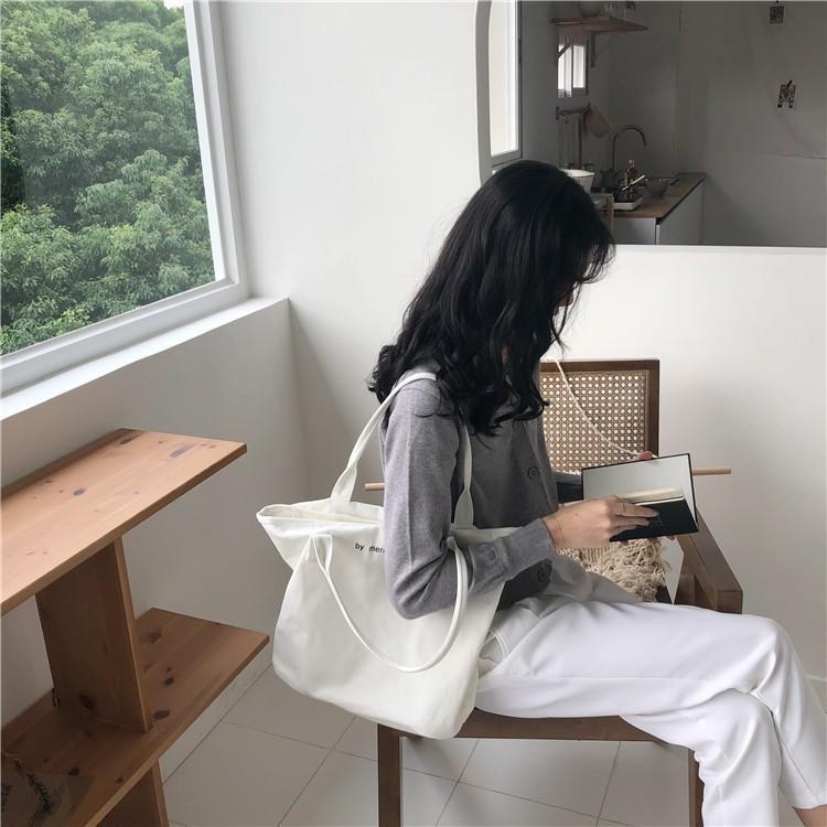Túi Vải Đeo Vai Canvas Cỡ Lớn In Chữ Phối Khóa Kéo Cá Tính Trẻ Trung