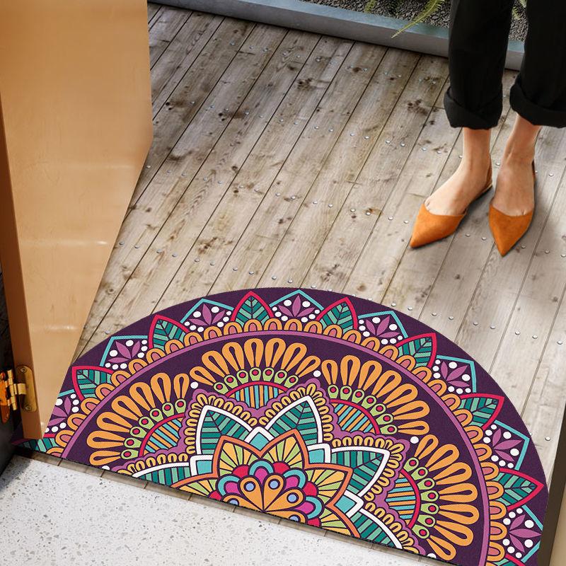 40 * 80cm Phong cách Bohemian Thảm Half Circle Lối vào Phòng tắm Phòng tắm Phòng khách Thảm thảm sàn chống trượt