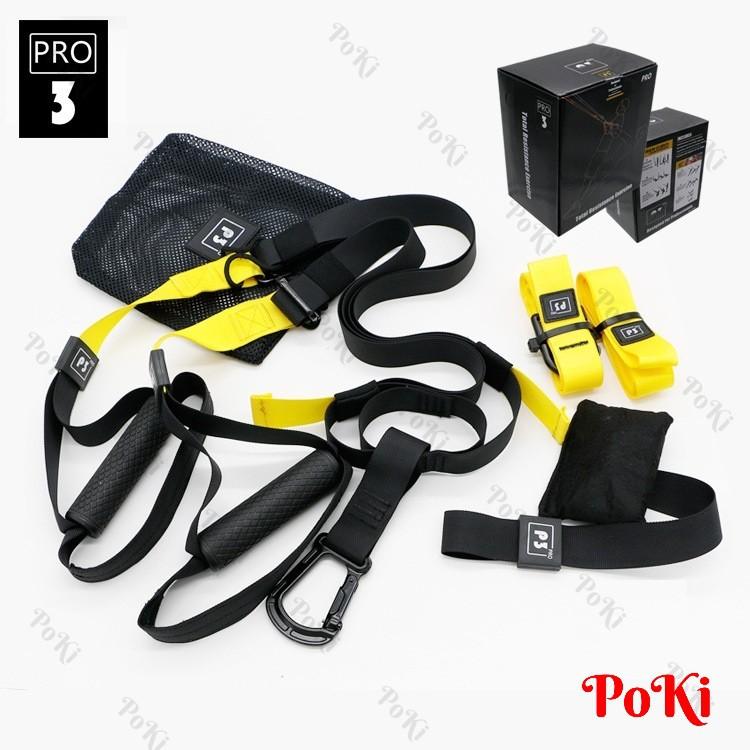 Bộ dây tập kháng lực P3-3 đa năng Gym & Yoga - The TRX PRO hàng thể thao chuyên dụng cao cấp - POKI