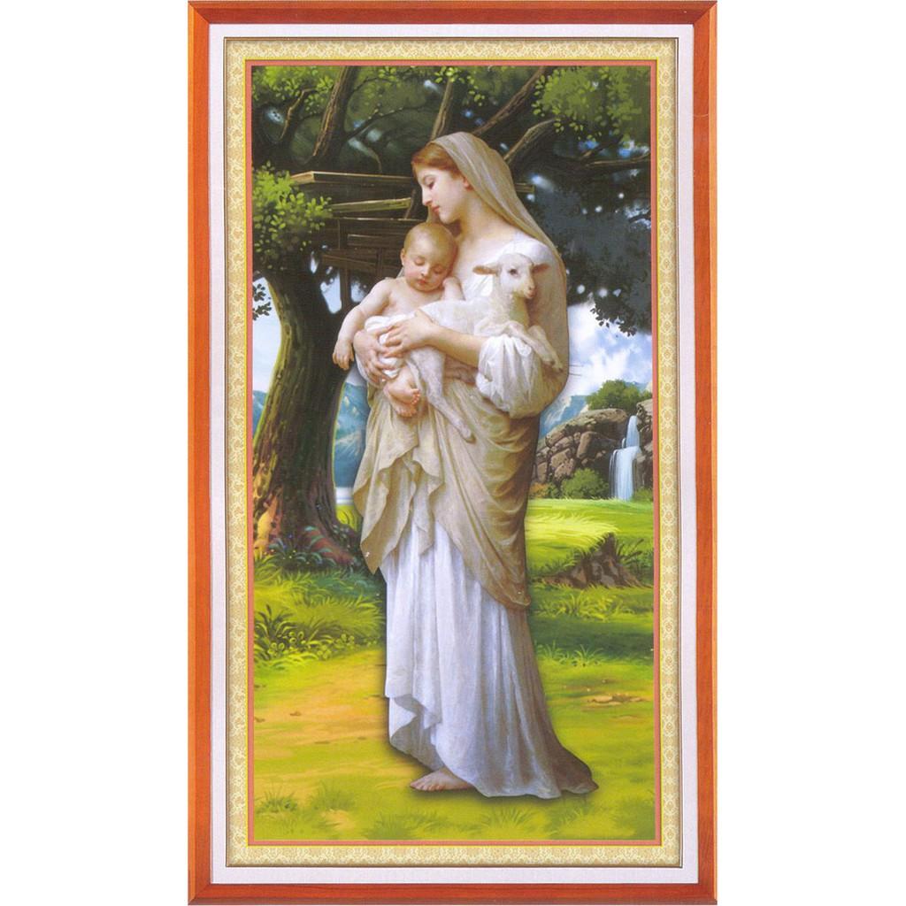 Tranh thêu chữ thập Đức Mẹ Maria Bồng Chúa Và Cừu Con A1095