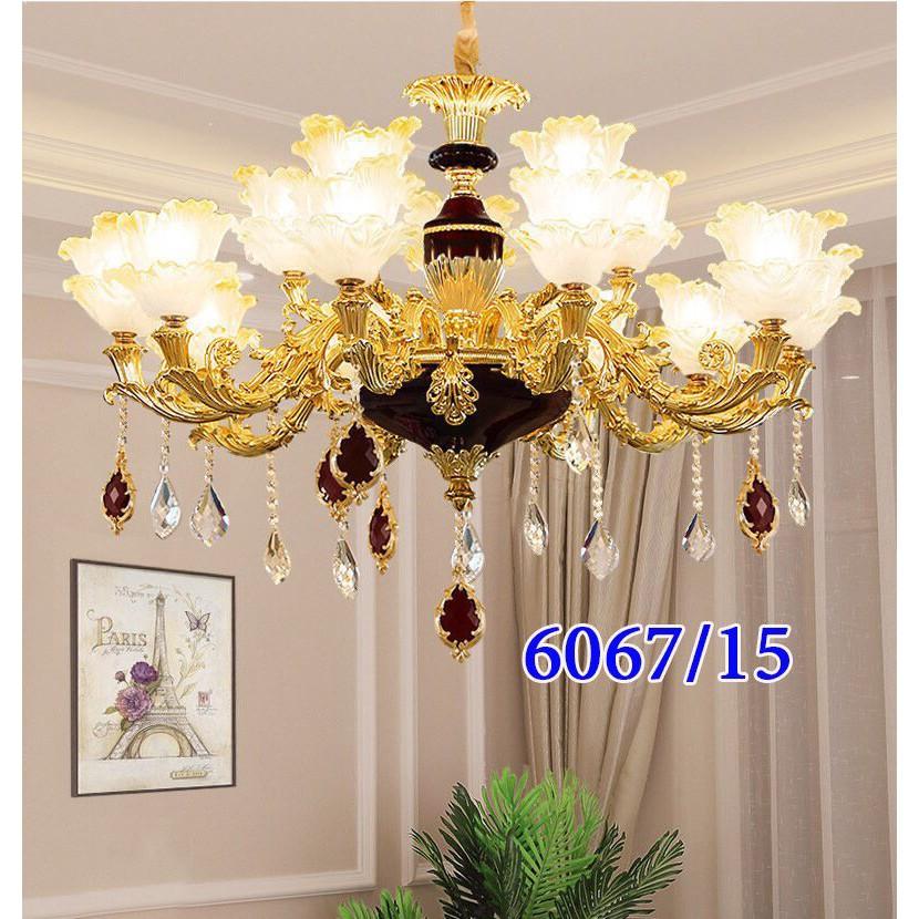 Đèn chùm trang trí nội thất phong cách Châu Âu hiện đại loại 12 tay - Tặng kèm bóng LED cao cấp - Xanh/Vàng/Đen