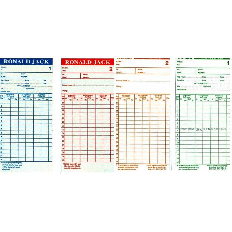 Thẻ giấy chấm công cho các dòng máy chấm công Ronald Jack, Wise eye, Akyo thẻ đẹp hàng loại 1 in chữ Ronald Jack
