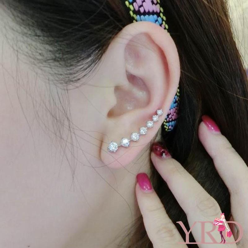 Cặp bông tai phối 7 hạt đá giả kim cương thời trang nữ