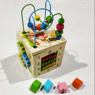 Hộp thả hình luồn hạt bàn tính đa năng kết hợp cho bé