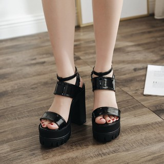 ▬2020 spring new European and American classic hate the sky high thick-soled thick-heeled waterproof platform ultra-high-heeled nightclub hollow sandals women