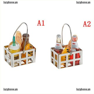 OM 1:12 Dollhouse furniture mini bread basket with beverages bottles set KS