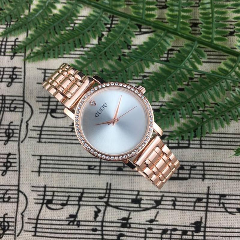 Đồng hồ nữ GUOU dây thép mặt viền đính đá đẳng cấp doanh nhân G31