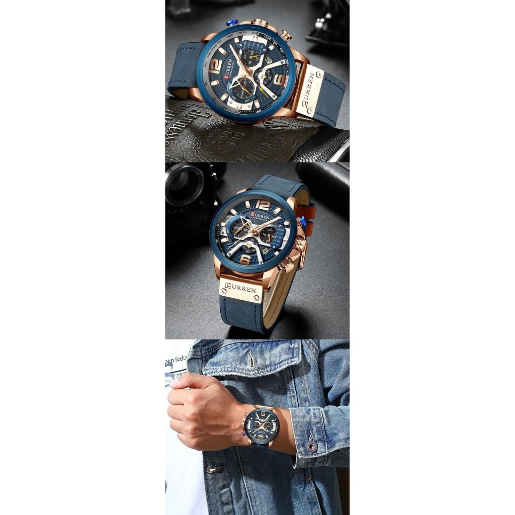 Đồng hồ nam CURREN CU03 chính hãng mẫu mới nhất 2020 chống nước cực tốt dây da cao cấp, chạy full kim độc đáo