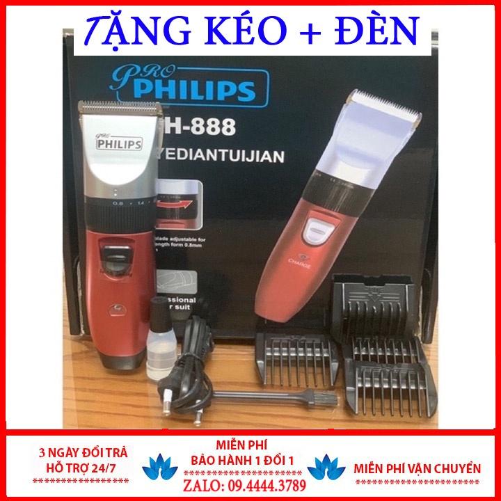 Tông đơ cắt tóc gia đình Phillip PH-888 cho trẻ em, người lớn. Tặng 2 kéo, 2 đèn