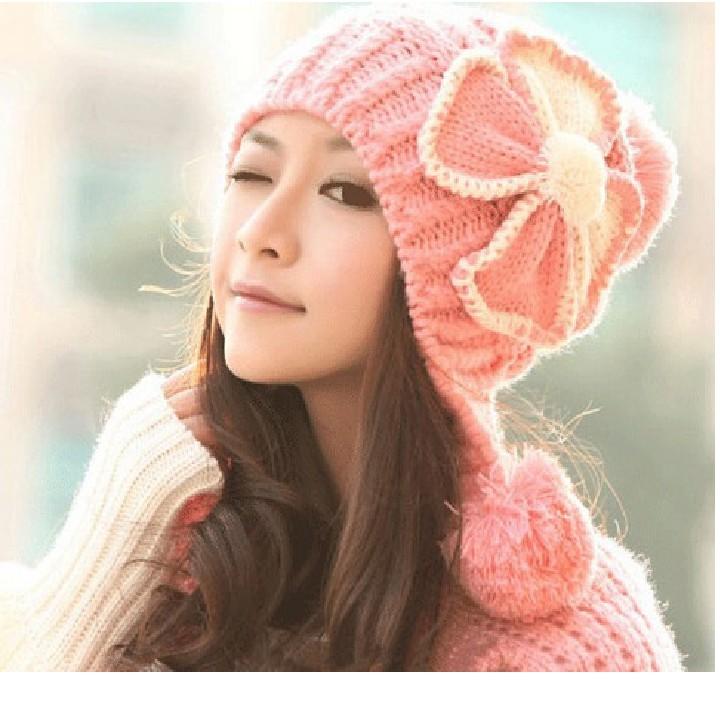 Mũ len dày đính hoa phong cách Hàn Quốc