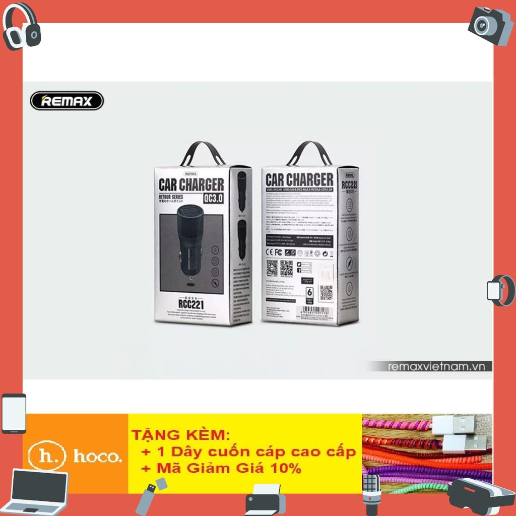 Củ sạc ô tô 2 cổng USB Remax RCC221 - BH 12 Tháng