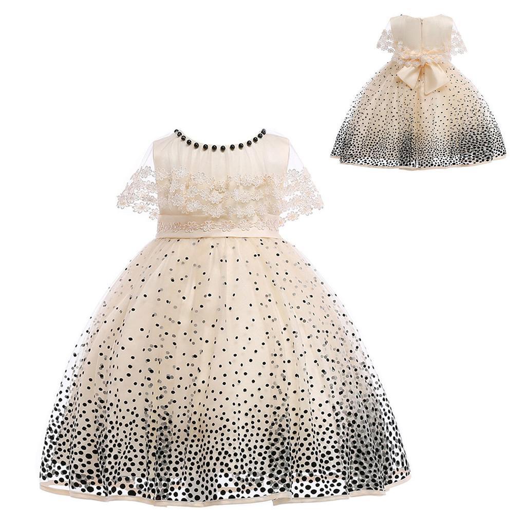 Đầm công chúa in họa tiết chấm bi li ti đáng yêu dành cho bé gái