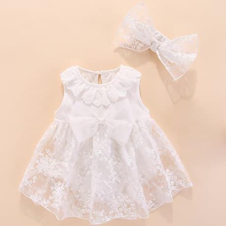 Váy trắng hoa kèm nơ cho bé từ 0 - 12