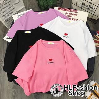 Áo thun tay lỡ form rộng thêu Be loved, áo phông form rộng size HLFashion thumbnail