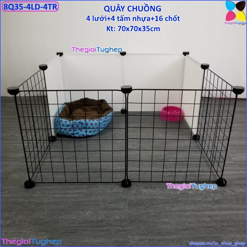 Bộ chuồng quây lắp ghép đa năng cho chó, mèo bằng tấm ghép (4 lưới đen, 4 tấm nhựa trắng sữa, 16 chốt, tặng búa) - 22766316 , 2006571862 , 322_2006571862 , 220000 , Bo-chuong-quay-lap-ghep-da-nang-cho-cho-meo-bang-tam-ghep-4-luoi-den-4-tam-nhua-trang-sua-16-chot-tang-bua-322_2006571862 , shopee.vn , Bộ chuồng quây lắp ghép đa năng cho chó, mèo bằng tấm ghép (4 lư