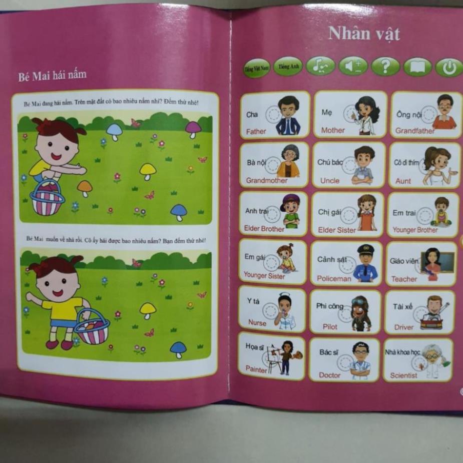 Sách Nói Điện Tử Song Ngữ, Giọng Chuẩn, 26 Trang, Tặng Bút Ấn, 3 PIN AAA Đồ chơi hot đồ...