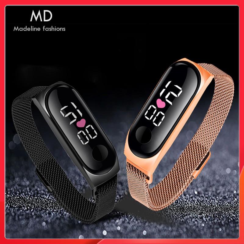 Đồng hồ nam nữ LED dây nam châm ôm tay cực đẹp,dây thép bền màu, chống nước tốt ( Mã: A