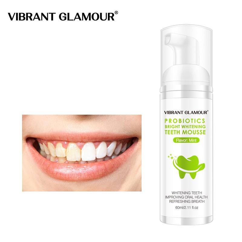 [Hàng Mới Về] VIBRANT GLAMOUR Bọt Tẩy Trắng Răng Làm Sạch Răng Khử Mùi Hôi Miệng Mousse Teeth Whitening Clean Teeth 60ml