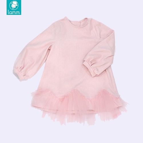 Lamm Váy đầm linen suông cho bé gái hồng phấn phối voan tay dài