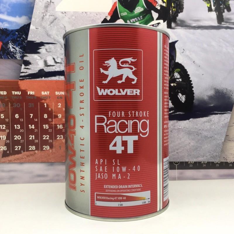 Nhớt Wolver Racing 4T 10W40 công nghệ tổng hợp, API SL, Jaso MA2