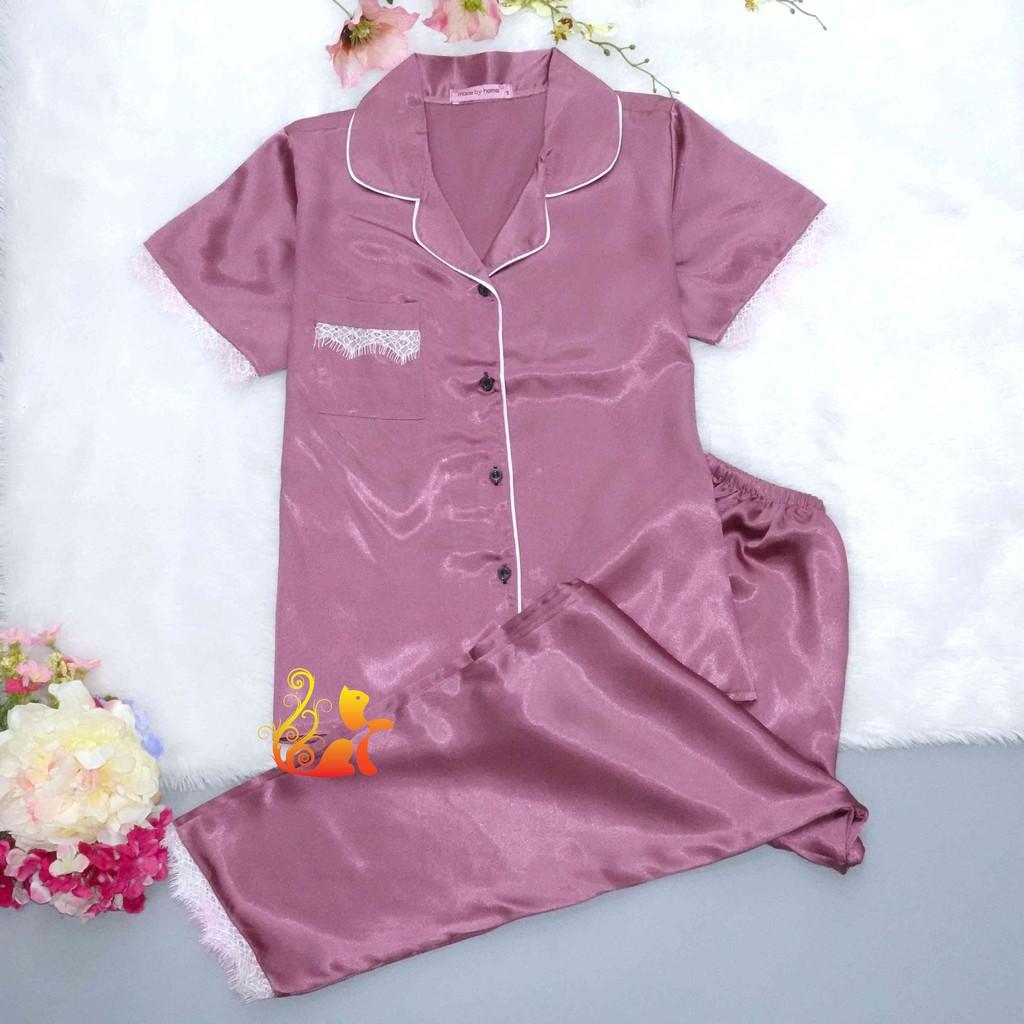 """Mặc gì đẹp: Mát mẻ với Đồ Pijama Phi Lụa """"Ren"""" Quần Dài Cao Cấp - Dưới 60kg"""