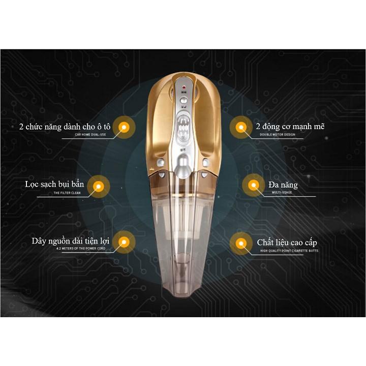 Máy Hút Bụi Xe Oto Cầm Tay 4 trong 1 Kiêm Bơm Hơi Kiêm Đèn Pin Đo Áp Xuất Oto 5m Dây Công Xuất 120W S1