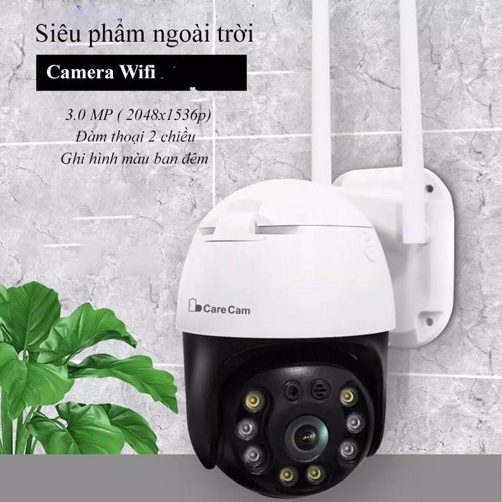 Camera WIFI Ngoài trời PTZ FULL HD 1080P Xoay 360* - Ban đêm có màu