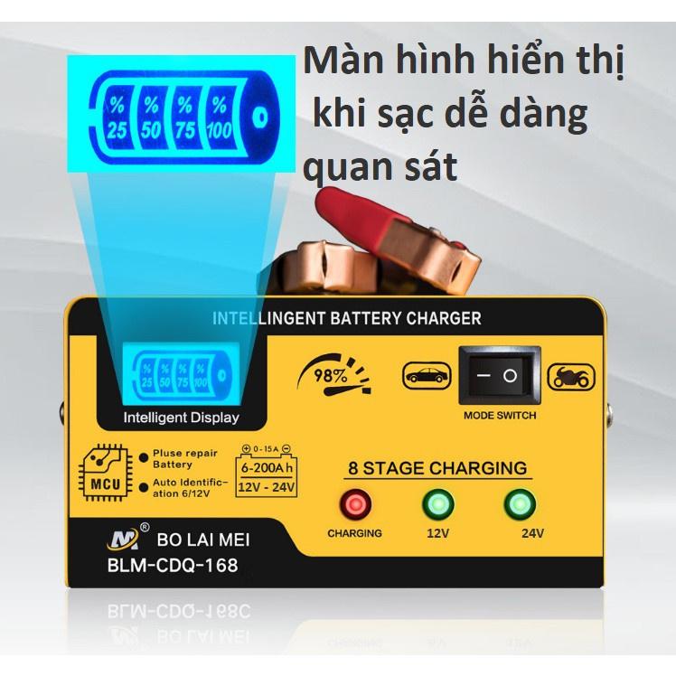 Máy sạc bình ắc quy công suất lớn 12V 24V 15A sạc siêu nhanh cho các loại ô tô tải xe máy ắc quy đồng nai GS khô và nước