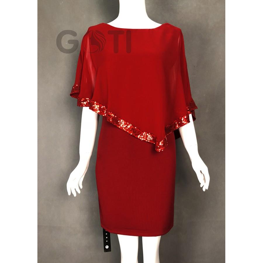 Đầm suông trung niên dự tiệc U40 U50 kiểu Đầm suông Bigsize - THỜI TRANG TRUNG NIÊN D373