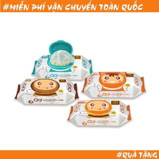 Khăn giấy ướt trẻ em Agi loại 80/100 tờ nguyên liệu cao cấp mềm mại dày và êm ái khi sử dụng cho bé