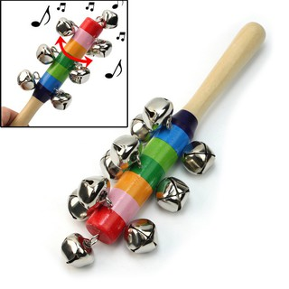 Baby Kid Rainbow Wooden Bell Ring Musical Instrument Toys