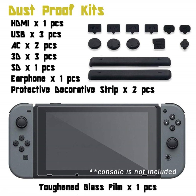 Switch Host Dust Plug + Tempered Film Set Switch Host Silicone Protective Cover Dust Plug